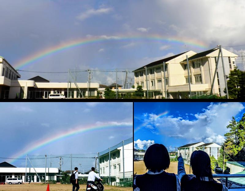 敬愛大学八日市場高校の虹景色